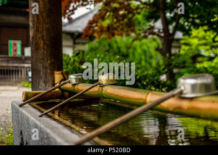 Stille am Wasserbecken am Eingang von einem Schrein in Japan für die riual Temizuya Reinigung - 16. - Stockfoto