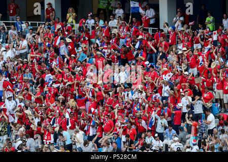 Nischni Nowgorod, Russland. 24. Juni, 2018. Panama Fans feiern nach dem ersten Ziel ihrer Seite der Partitur 6-1 während der FIFA WM 2018 Gruppe G Match zwischen England und Panama in Nizhny Novgorod Stadion am 24. Juni 2018 in Nischni Nowgorod, Russland. (Foto von Daniel Chesterton/phcimages.com) Credit: PHC Images/Alamy leben Nachrichten
