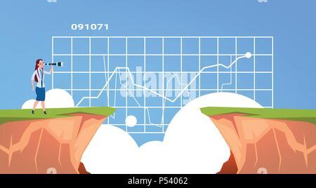 Geschäftsfrau gerade mit Fernglas auf Business Diagramm über Abgrund Berg Risikobewertung Konzept, flach - Stockfoto