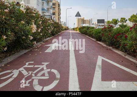 Rad weg von roten und weißen Blumen, roten Asphalt mit einem weißen Pfeil für Fahrräder umgeben. Stadt, Sky Kulisse. - Stockfoto