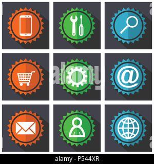 Web Icon Set, Smartphone tools internet Warenkorb bunte Vektor Symbole in eps 10. - Stockfoto