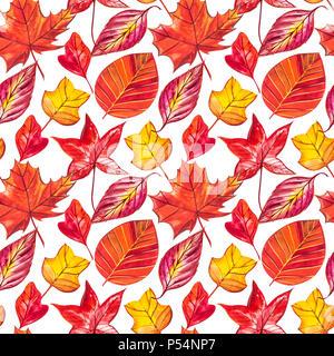 Rot und Orange Blätter im Herbst Hintergrund. Aquarell nahtlose Muster Abbildung. - Stockfoto
