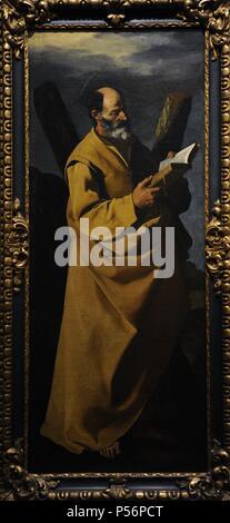 Francisco de Zurbaran (1598-1664). Spanischer Maler. Saint Andrew, 1635-1640. Museum der bildenden Künste. Budapest, Ungarn. - Stockfoto
