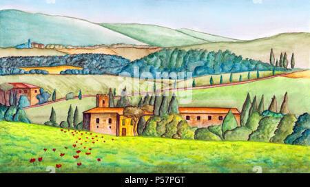 Schöne italienische Landschaft in Aquarell gemalt. Ursprüngliche Abbildung. - Stockfoto