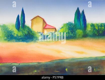 Landschaft in der Toskana, Italien. Mein original handgemalte Illustrationen. - Stockfoto