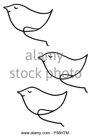 Oh Happy Day v gel Trio humor Zeichnung Abbildung: Schwarz und Weiß - Stockfoto