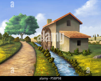 Alte Mühle in einem Land Landschaft. Digitale Illustration. - Stockfoto