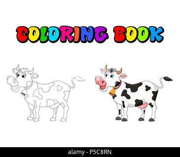 Cartoon weibliche Kuh Malbuch design isoliert auf weißem - Stockfoto