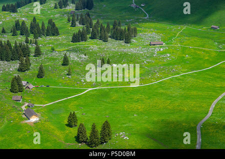 Homestead auf der Schwägalp in den Schweizer Alpen, im Kanton Appenzell Ausserrhoden, Schweiz, vom Säntis Seilbahn gesehen. - Stockfoto
