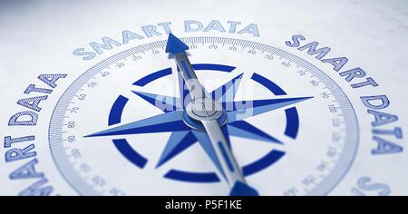 Smart-Konzept mit einem blauen und weißen magnetischen Kompass mit Nadel mit der Phrase Repeat-Smart Daten gerahmt - Stockfoto
