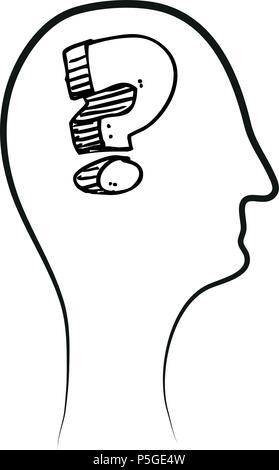Fragezeichen im Kopf - Vektor - Stockfoto