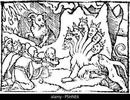 """N/A. Englisch: Und ich an den Sand des Meeres und sah ein Tier aus dem Meer steigen, das hatte sieben Häupter und zehn Hörner (Offenbarung 13:1); """"Und ich sah ein anderes Tier aufsteigen aus der Erde; das hatte zwei Hörner wie ein Lamm."""" (Offenbarung 13:11). 1545. John Bale 17 1545 Ballen Offenbarung Kapitel 13. - Stockfoto"""