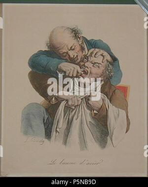 N/A. Français: Le Baume d'acier. Boilly Louis-Léopold (1761-1845) Lithographie, Paris. 1825, 28 x 24 cm Englisch: Le Baume d'acier (Zahnarzt). Boilly Louis-Léopold (1761-1845). Handcolorierte Lithographie, Paris. 1825, 28 x 24 cm. Boilly Louis-Léopold (1761-1845) 140 Arracheur de Dellen - Stockfoto