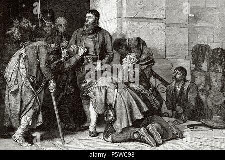Andreas Hofer (1767-1810). Tiroler Patriot. Anführer der Tiroler Aufstand gegen die bonapartistische Imperialismus. Hofer führte zu Ausführung. Gravur. - Stockfoto