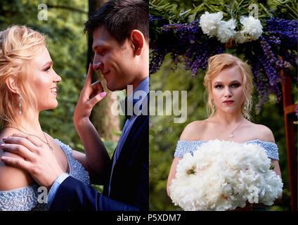 Die Braut sieht auf den Bräutigam scherzend. Und berührte einen Finger auf die Spitze seiner Nase. Hochzeit gehen und Fotoshooting. Die Braut steht an der Arch, Dekorieren - Stockfoto