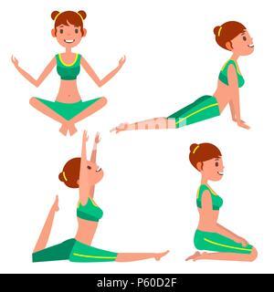 Yoga Frau stellt ein Vektor. Mädchen. Yoga Übung. Tun Fitness, Sport. Flache Cartoon Illustration - Stockfoto
