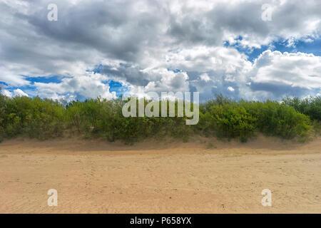Der grüne Streifen von Bush Dünen zwischen gelbem Sand und Wolken im blauen Himmel Ostsee - Stockfoto