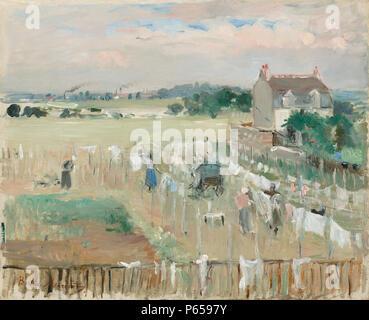 1875 Morisot Wäscheservice. Malerei; Öl auf Leinwand; insgesamt: 33 x 40,6 cm (13 x 16 in.) gerahmt: 52,4 x 60 x 5,7 cm (20 5/8 x 23 5/8 x 2 1/4 in.);