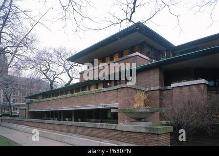 Die Robie House, Chicago University, Illinois, USA. Von Frank Lloyd Wright entworfen. - Stockfoto