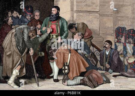 Andreas Hofer (1767-1810). Tiroler Patriot. Anführer der Tiroler Aufstand gegen die bonapartistische Imperialismus. Hofer führte zu Ausführung. Gravur. Gefärbt. - Stockfoto