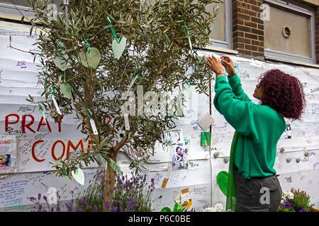 Der erste Jahrestag des 24-stöckigen Hochhauses Grenfell von Sozialwohnungen wohnungen Feuer, das 72 Menschenleben gefordert. Junge Frau hängen Nachrichten/Gebete für einen Olivenbaum, South Kensington, London, UK, 14. Juni 2018. - Stockfoto