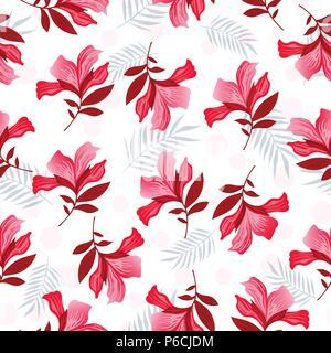 Die nahtlose Vektor floralen Muster Frühjahr - Sommer mit Hand gezeichnet pattern Design mit rot und rosa Blumen, Textur kann für Textilien, Stoffe verwendet werden, Cove - Stockfoto