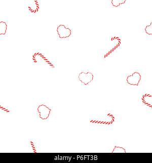 Nahtlose Muster Weihnachten candy Karamel Spiralen und Herz Lutscher auf weißem Hintergrund, Vektor EPS 10. - Stockfoto