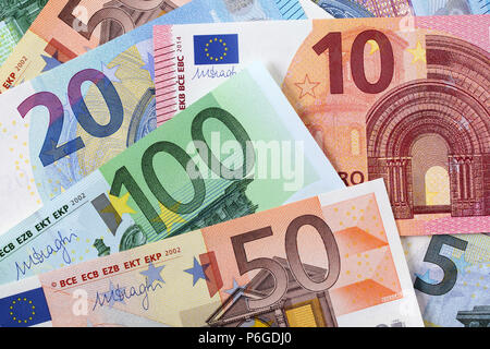 Verschiedene Euro Hintergrund - Stockfoto