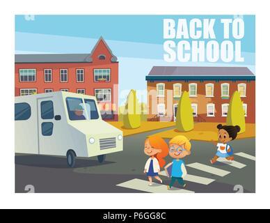 Lächelnde Kinder Kreuzung Straße vor dem Bus. Happy Kids zu Fuß in die Fußgängerzone crosswalk gegen Gebäude im Hintergrund. Zurück zum Konzept der Schule. Vector Illustration für Website, Banner, ad - Stockfoto