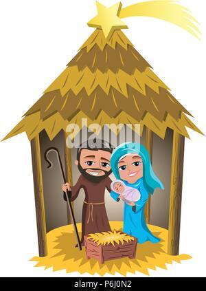 Weihnachten Krippe mit Maria und Josef, den kleinen neugeborenen Jesus schlafen in einer Hütte isoliert - Stockfoto