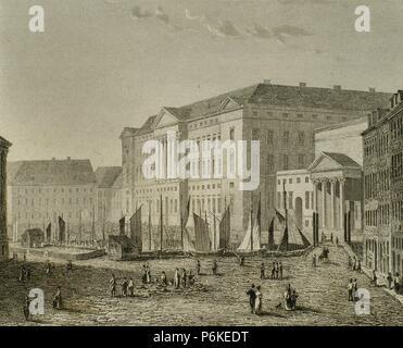 Dänemark. Kopenhagen. Schloss Christiansborg. Es ist ein Palast und Regierungsgebäude auf der Insel Slotsholmen. Heute ist der Sitz des dänischen Parlaments, der dänische Ministerpräsident Office und der Supreme Court von Dänemark Gravur, 1845. - Stockfoto