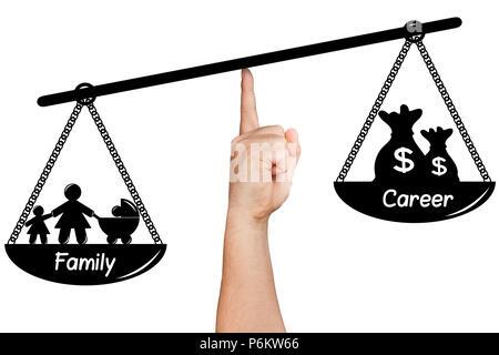 Hand gezeichnet silhoette Wiegen Familie versus Karriere isoliert - Stockfoto