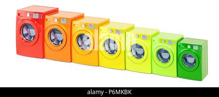 Energieeffizienz Konzept von Waschmaschinen. 3D-Rendering auf weißem Hintergrund