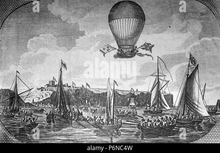 Überquerung des Ärmelkanals durch Blanchard im Jahr 1785. - Stockfoto