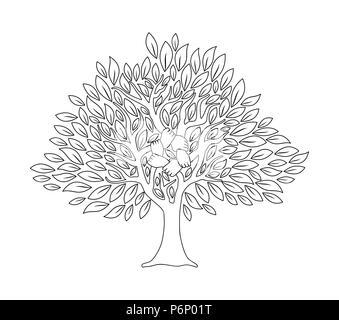 Baum mit menschlichen Händen zusammen im Umriss Stil. Community Team Konzeption Illustration für die Kultur der Vielfalt, Natur- oder Teamarbeit Projekt. EPS 10 vec - Stockfoto