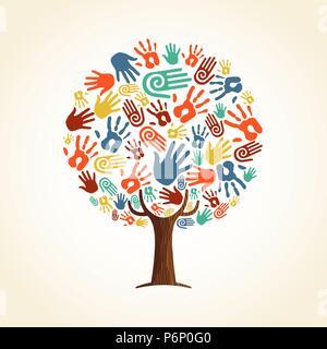 Baum aus bunten menschliche Hände in den Filialen. Community Hilfe Konzept, vielfältige Kultur Gruppe oder sozialen Projekt. EPS 10 Vektor. - Stockfoto