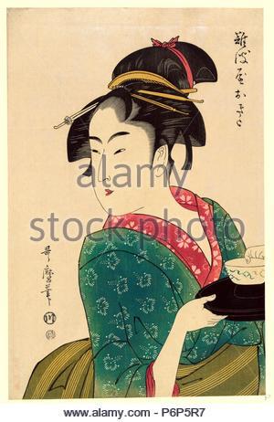 Naniwaya Okita, Okita Naniwa-ya., Kitagawa, Utamaro, 1753?-1806, Künstler, [1793, später gedruckt], 1 print: Holzschnitt, Farbe: Print zeigt Naniwaya Okita, ein Teehaus Kellnerin, Brustbild, wandte sich an der linken Seite, mit einer Schüssel auf einem Tablett. - Stockfoto