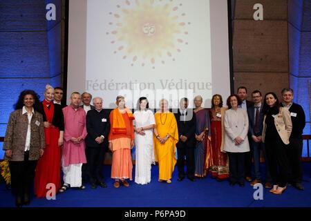 Beginn der Französischen Vedische Föderation bei der UNESCO, Paris, Frankreich. - Stockfoto