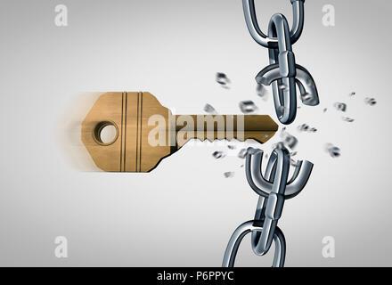 Bricht die Kette und eine Entriegelung Konzept als Schlüssel brechen Metall links als Sicherheits- und geschäftlichen Erfolg Symbol als 3D-Render.