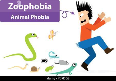 Zoophobia Mann entsetzt, wenn die Tiere sehen, Vektor Kunst - Stockfoto