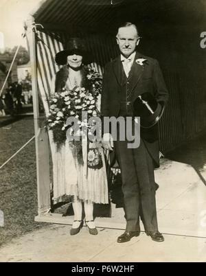 US-Präsident Calvin Coolidge mit seiner Frau bei der Hochzeit seines Sohnes, USA 1929 - Stockfoto