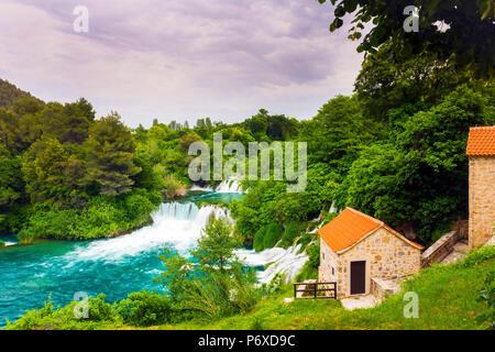 Dalmatien, Kroatien, Nationalpark Krka Wasserfälle bei Skadinski Buk - Stockfoto