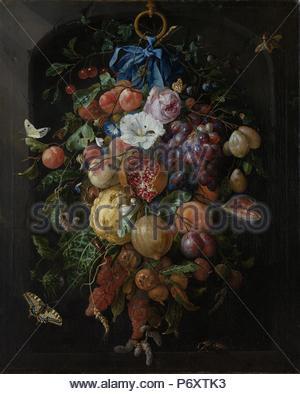 Festoon von Obst und Blumen, Jan Davidsz. de Heem, 1660 - 1670. - Stockfoto