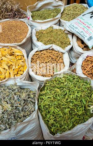 Marokko, Marrakech-Safi (Marrakesh-Tensift-El Haouz) Region, Marrakesch. Getrocknete Kräuter und Gewürze für den Verkauf in der Mellah Spice Market. - Stockfoto