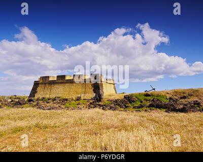 Portugal, Azoren, Terceira, Praia da Vitoria, Ansicht der Forte de Santa Catarina. - Stockfoto