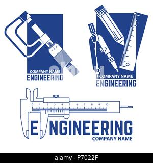 Satz von Engineering Company Logo Schablone auf den weißen Hintergrund. Vector Illustration. Engineering Symbol für Ihre Web site Design, Logo, App, UI. - Stockfoto