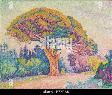 . Deutsch: Das Pine Tree bei Saint Tropez Français: Le Pin de Bertaud [à Gassin] 1909 177 Paul Signac, 1909 Pine Tree bei Saint Tropez, Öl auf Leinwand, 72 x 92 cm, Puschkin-museum, Moskau - Stockfoto