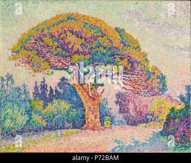 . Deutsch: Das Pine Tree bei Saint Tropez Français: Le Pin de Bertaud [à Gassin] 1909 184 Paul Signac, 1909 Pine Tree bei Saint Tropez, Öl auf Leinwand, 72 x 92 cm, Puschkin-museum, Moskau - Stockfoto