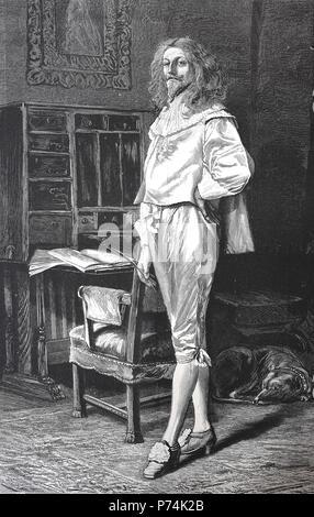 Anmutige Gentleman im Jahre 1881, edler Mann mit Hund in seinem Zimmer, digital verbesserte Reproduktion von einem ursprünglichen Drucken aus dem Jahr 1881 - Stockfoto