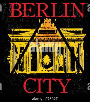 berliner skyline und wahrzeichen silhouette schwarz wei design vektor illustration vektor. Black Bedroom Furniture Sets. Home Design Ideas